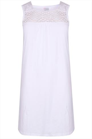 White Sleeveless Nightdress with Crochet Detail
