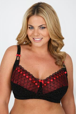 Black And Red Flocked Animal Soft Cup Non Wired Bra