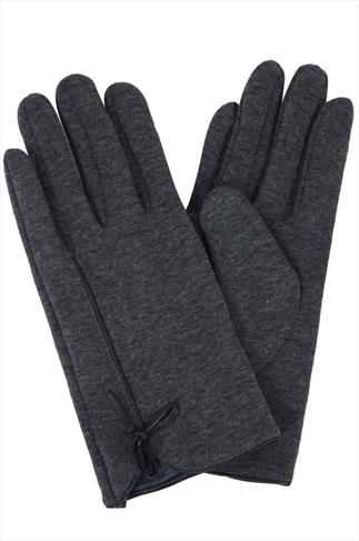 Grey Marl Fur Lined Gloves With Bow Detail