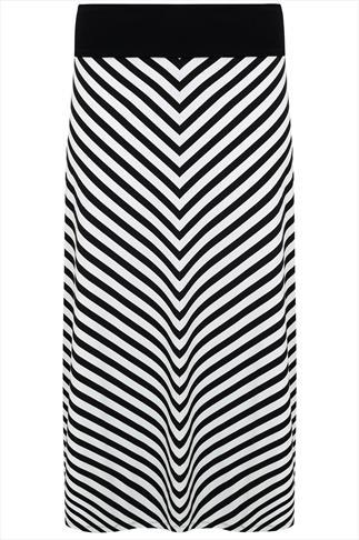 Black & White Chevron Maxi Skirt With Black Waist Panel