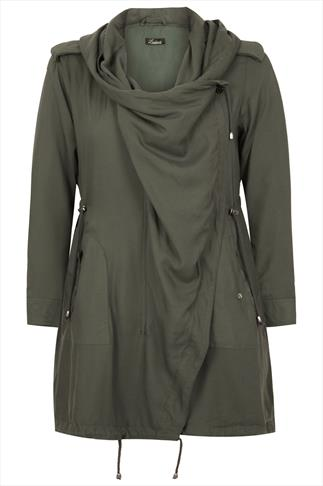 Khaki Cocoon Shaped Parka Jacket With Drape Front