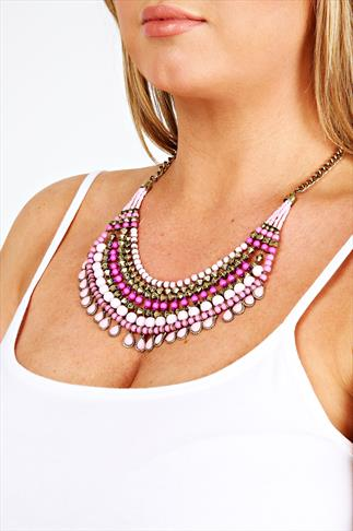 Pink Bead Statement Necklace