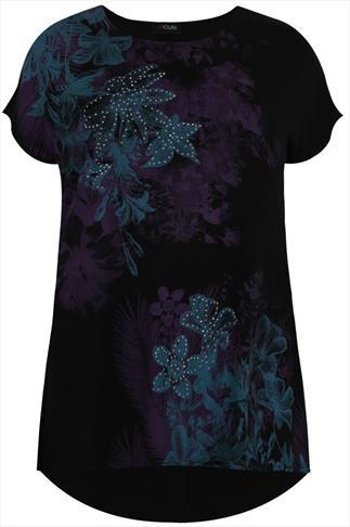 Black & Teal Floral Print Top With Short Sleeves
