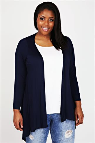 Navy Edge To Edge Waterfall Jersey Cardigan