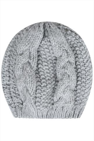 Grey Cable Knit Beret Hat