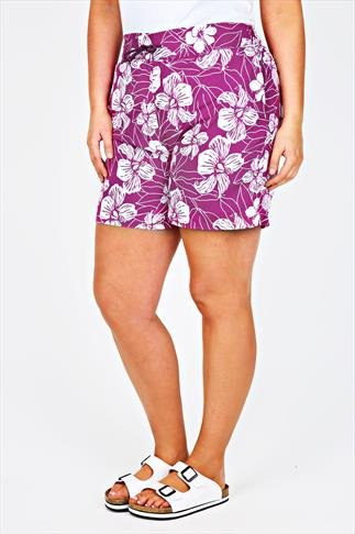 Pink And White Floral Print Board Shorts