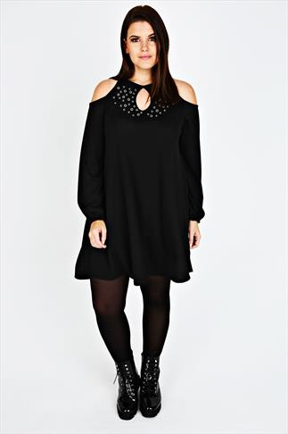 Black Eyelet Cold Shoulder Swing Dress With Eyelet Detail