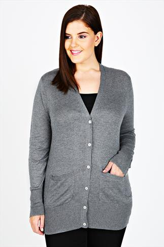 Grey Marl Fine Knit Longline Cardigan With Pearl Buttons