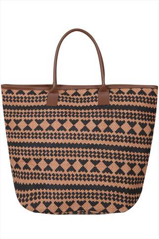 Tan Brown & Black Aztec Straw Beach Bag With PU Trim