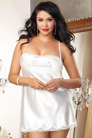 Ivory Satin Diamanté Embellished Bridal Chemise