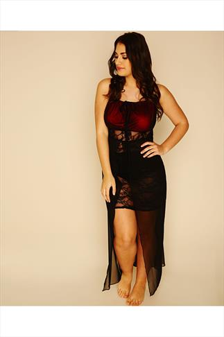 Red & Black Maxi Lace Babydoll With Keyhole Detail