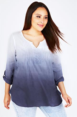 White & Navy Dip Dye Long Sleeved Blouse