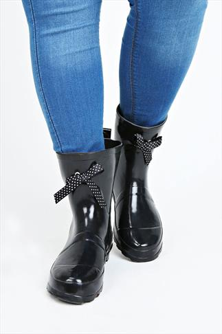 Black Patent Short Wellies With Polka Dot Bow In EEE Fit