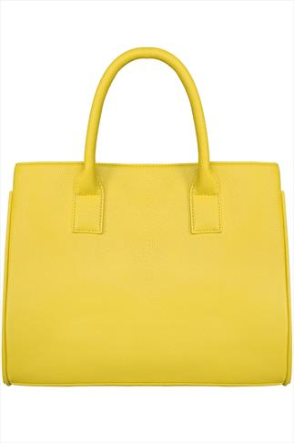 Yellow Tote Bag With Side Poppers And Studded Feet