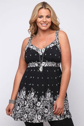 Black And White Floral Border Longline Top With Sequin Detail