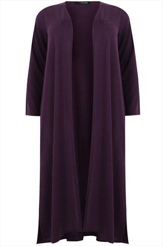Purple Edge To Edge Maxi Cardigan With Side Splits