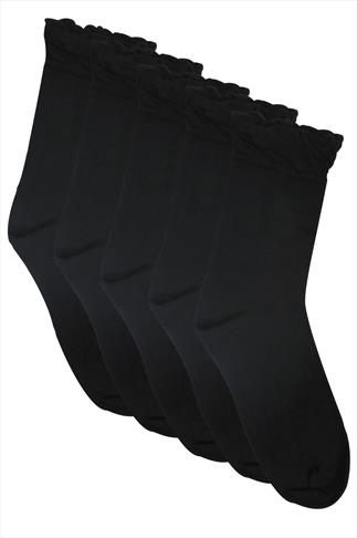 Black 5 Pair Pack Socks In Extra Wide Fit