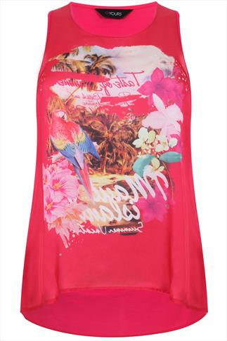 Hot Pink Sleeveless Top With Tropical Placement Print