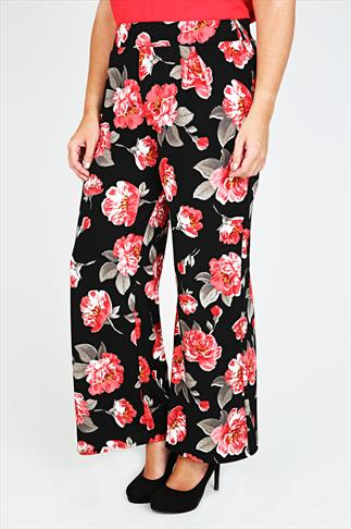 Black & Red Rose Print Textured Wide Leg Trousers