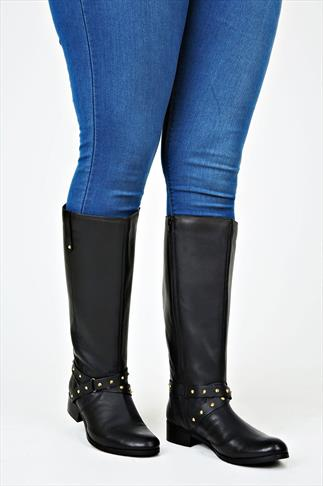 Black Knee High Leather Riding Boot With Stud Buckle XL Calf Fitting