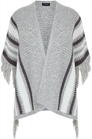 Grey & White Knitted Stripe Wrap