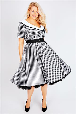 HELL BUNNY Black & White Gingham Print 50s Midi Dress