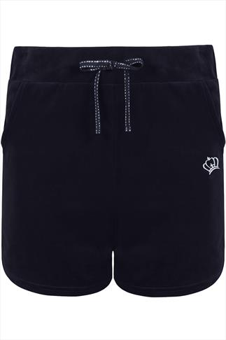Navy Velour Shorts With Silver Crown Detail