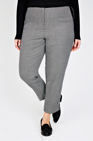 Black & White Patterned Slim Leg Trousers With Contrast Trim