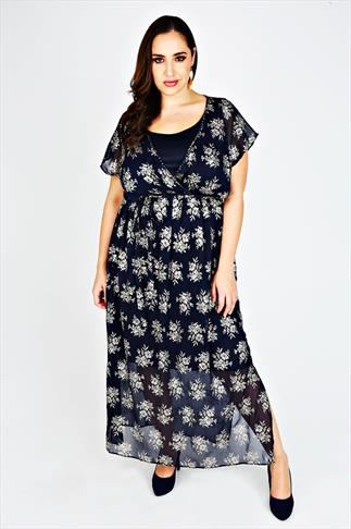SCARLETT & JO Midnight Blue & Gold Foil Chiffon Maxi Dress