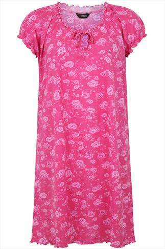 Pink Floral Print Gypsy Style Cotton Nightdress
