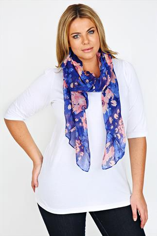 Blue And Coral Flower Print Scarf