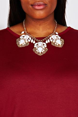Gold Tone 3 White Diamond Embellished Statement Necklace