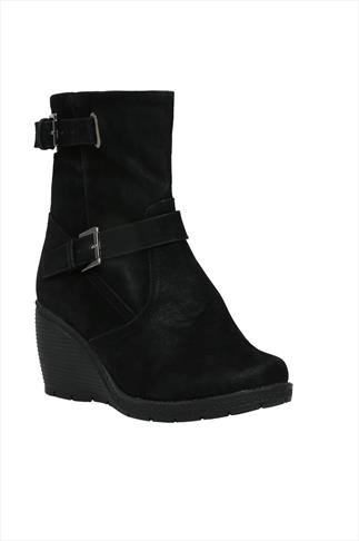 Black Wedge Ankle Boots With Buckle Strap Trims In EEE Fit