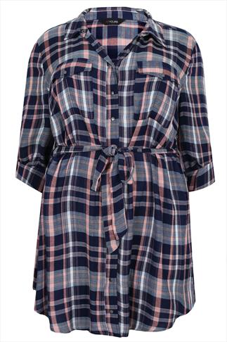 Navy, White & Coral Checked Shirt Tunic With Tie Waist