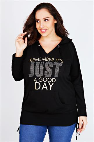 "Black Foil ""Remember Its Just A Good Day"" Pull Over Hoodie"
