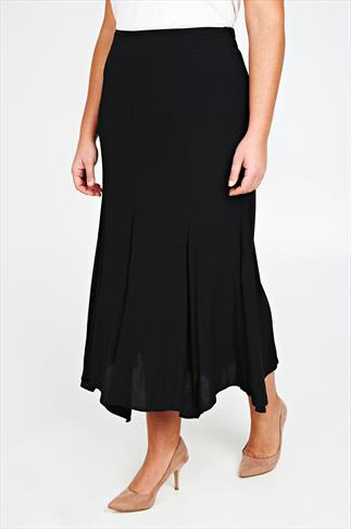 Black Crinkle Viscose Panelled Maxi Skirt With Flare To Hem