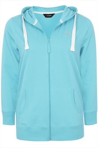 Aqua Blue Zip Up Basic Hoody With Crown Detail