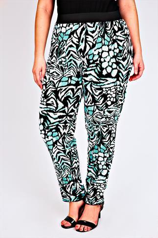 White & Aqua Abstract Print Jersey Harem Trousers