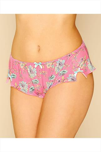 Pink Floral Print Brief With Bows