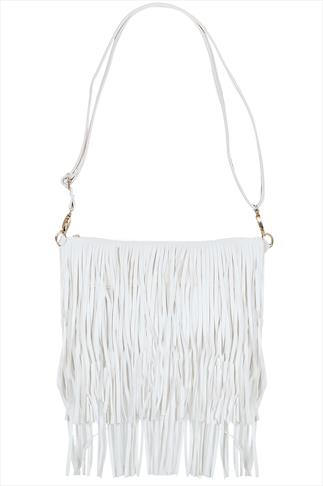 White Fringe Bag With Adjustable Strap