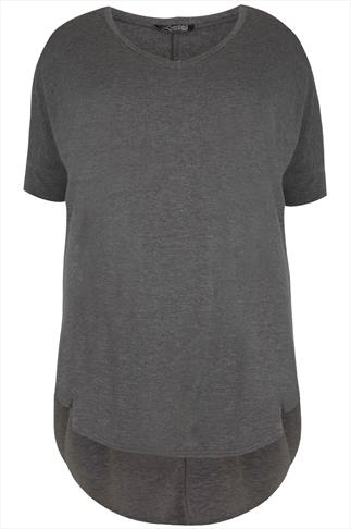 Dark Grey Oversized V-Neck Top With Extreme Dipped Hem
