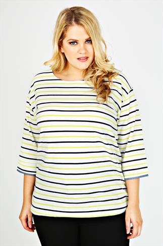 White, Navy & Lime Striped Top With Chambray Trim