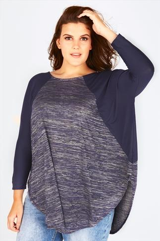 Navy & Silver Curved Hem Top With Batwing Sleeves