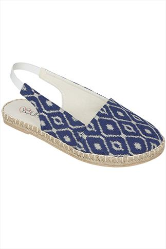 Blue & Ecru Aztec Print Slingback Canvas Espadrilles In EEE Fit