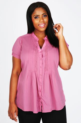 Dusky Pink Pintuck Short Sleeved Blouse With Lace Trim