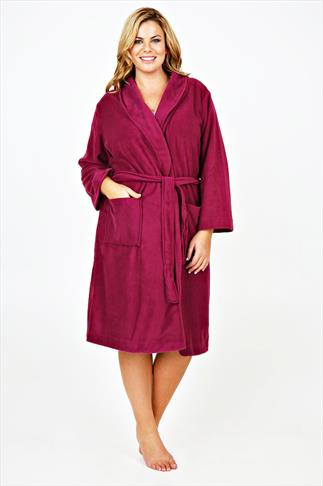 Magenta Micro Fleece Dressing Gown With Pockets