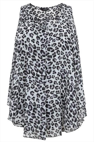 Leopard Print Layered Front Sleeveless Blouse