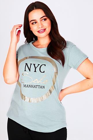 Duck Egg Blue & Gold  'NYC' Print Short Sleeved T-Shirt