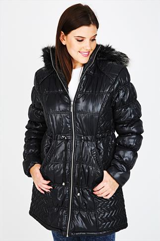 Black Wet Look Puffa Coat With Fur Hood