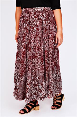 Burgundy & Ivory Mixed Tile Print Gypsy Maxi Skirt
